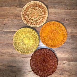 VINTAGE boho wall basket set of 4